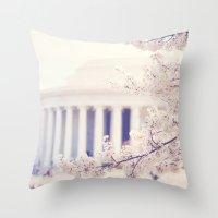Cherry Blossoms at the Jefferson Memorial Washington DC Throw Pillow