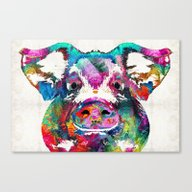 Colorful Pig Art - Squea… Canvas Print