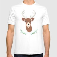 Deer Head Mens Fitted Tee White SMALL
