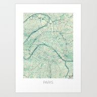 Paris Map Blue Vintage Art Print