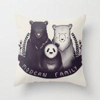 Modern Bear Family Throw Pillow