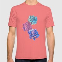 Vibrant Succulents  Mens Fitted Tee Pomegranate SMALL