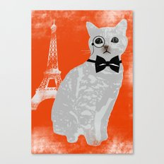 Wise cat with bow and tie Canvas Print