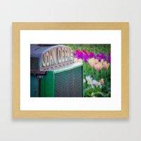 John Deere in the Tulips Framed Art Print