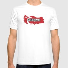 made in turkey country national flag map  White SMALL Mens Fitted Tee