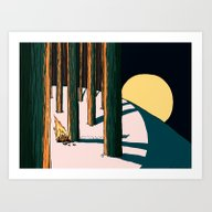 Car Crash In The Forest Art Print