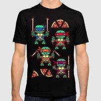 Teenage Mutant Ninja Turtles Pizza Party Mens Fitted Tee Black SMALL