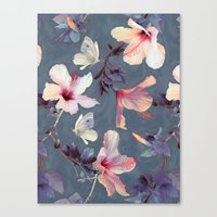 Canvas Print featuring Butterflies and Hibiscus Flowers - a painted pattern by micklyn