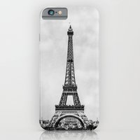 iPhone & iPod Case featuring Eiffel tower in greyscale with painterly effect by Bruce Stanfield