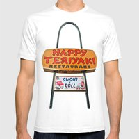 Happy Teriyaki Mens Fitted Tee White SMALL