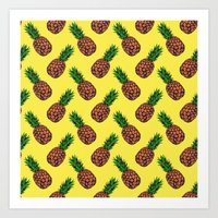 Neo-Pineapple - Mellow Yellow Art Print
