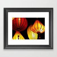 Neon Lanterns Framed Art Print