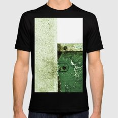 White Green Concrete SMALL Black Mens Fitted Tee
