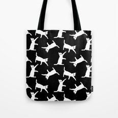 Cats-White on Black Tote Bag