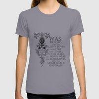 Alice In Wonderland Jabberwocky Poem Womens Fitted Tee Slate SMALL