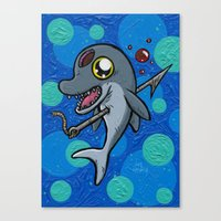 Poony the Harpooned Dolphin Canvas Print
