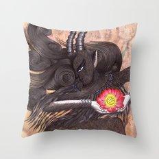 Capricorn, The Ambitious Goat: Dec 22 - Jan 20 / Original Gouache On Paper Throw Pillow
