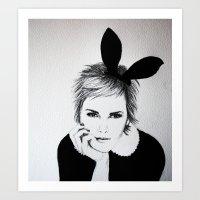 'Emma Watson' Bunny Ears Illustration Art Print