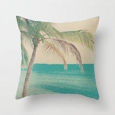 Coco Palm in the Beach  Throw Pillow