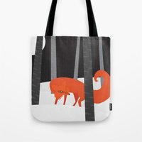 Winter Fox Vertical Tote Bag