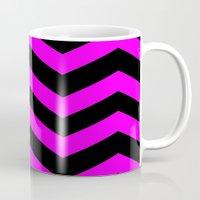 Black & Pink Chevron Lines  Mug
