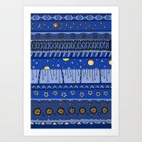Yzor Pattern 010 Night Art Print