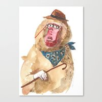 Canvas Print featuring Suave Baboon by Becca Kallem