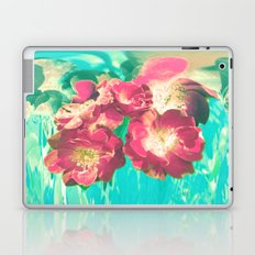 Red Wild Roses On Turquoise Ground Laptop & iPad Skin