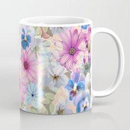 Mug - Pink and blue floral pattern - CatyArte
