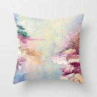 WINTER DREAMLAND 1 Colorful Pastel Aqua Marsala Burgundy Cream Nature Sea Abstract Acrylic Painting  Throw Pillow