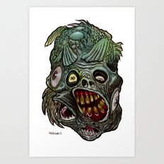 Heads of the Living Dead  Zombies: Fish Fusion Zombie Art Print