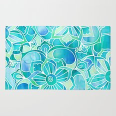Aqua & Emerald - blue, turquoise & mint green floral design Rug