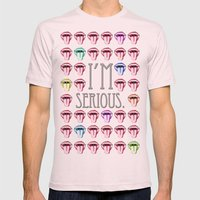 I´M SERIOUS. Mens Fitted Tee Light Pink SMALL