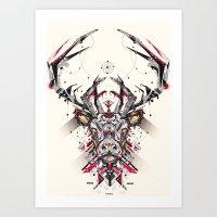 deer Art Prints featuring deer by yoaz