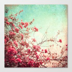 Pink Flowers on a Textured Blue Sky (Vintage Flower Photography) Canvas Print
