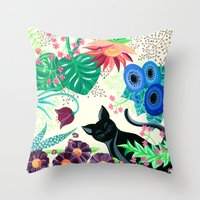 Natures Confetti Cat  Throw Pillow