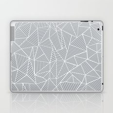 Abstract Lines 2 White on Grey Laptop & iPad Skin