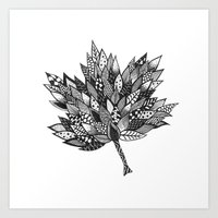 Zentangle Leaf Art Print