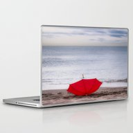 Red Umbrella At The Beac… Laptop & iPad Skin