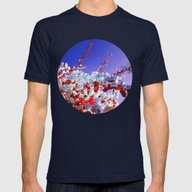 Flowers Mens Fitted Tee Navy SMALL