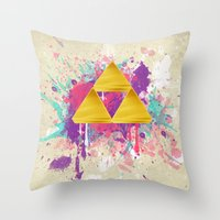Splash Triforce Throw Pillow