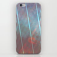 Red stripes on grunge background iPhone & iPod Skin