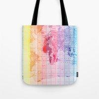 Rainbow World Map Tote Bag
