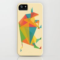 iPhone Cases featuring Fractal Geometric Bull by Budi Kwan