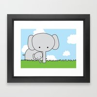Mommy Elephant Framed Art Print