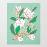 Floating Tulips (mint Gr… Canvas Print