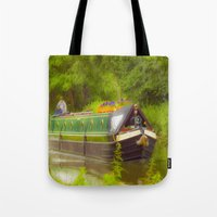 Canal Boat Painted Tote Bag