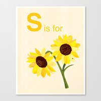 S Is For Sunflowers  Canvas Print