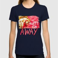 Let's Run Away Horse Womens Fitted Tee Navy SMALL