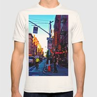 Sun Goes Down  in the City Mens Fitted Tee Natural SMALL
